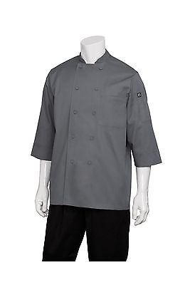 Chef Works Men's Essential 3/4 Sleeve Chef Coat (JLCL) Grey Medium