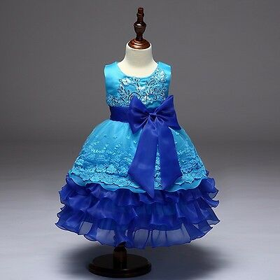 NEW Cute Flower Girl's Wedding Bridesmaid Pageant Formal Dress - Blue Size 2