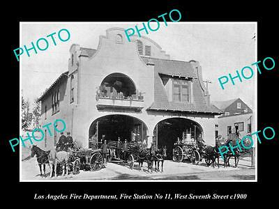 OLD LARGE HISTORIC PHOTO OF LOS ANGELES FIRE DEPARTMENT, FIRE STATION No11 c1900