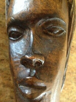 Vintage African Tribal Art Carved Wood Head Bust Figure  Sculpture 11""