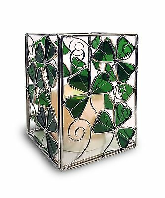 Shamrock Candle Holder with a LED Candle - Stained Glass Shamrocks and a Flam...