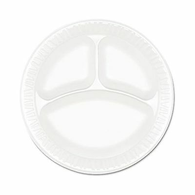 """Dart 9CPWCR Concorde Foam Plate 3-Comp 9"""" dia White Pack of 125 (Case of 4) -NEW"""