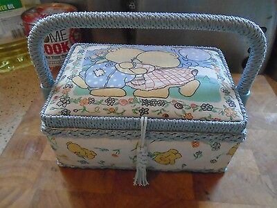 Vintage  Sewing Box, Forever Friends Fabric Covered Box