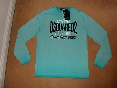 New Dsquared2 Italy Catens Logo Long Sleeve Top T-Shirt In Aquamarine Xxl