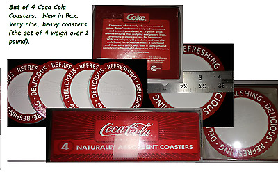 Coca Cola Coasters Set of 4  Collectible New in Box Naturally Absorbent Coasters
