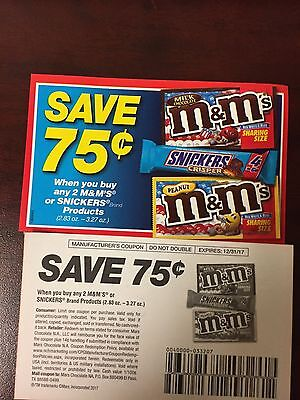 20 save $.75 on 2 M&M'S SNICKERS TWIX MILKY WAY MARS candy coupons exp12/31/2017