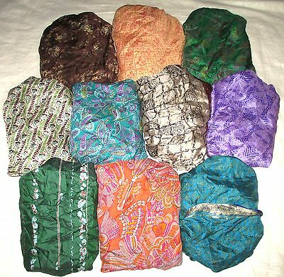 LOT PURE SILK Antique Vintage Sari Saree Fabric 13 Pcs 1 FOOT  Lt21 Wk #ABCSO