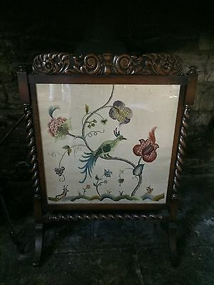 Oak,Fire screen,tapestry, barley twist,embroided antique carved