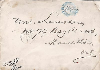Canada 1877 House of Commons FREE CDS on Parliament Cover to Hamilton Ont