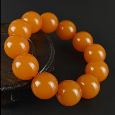 Natural BALTIC AMBER Beeswax Fashion Boutique Orange Round Beads Bracelet