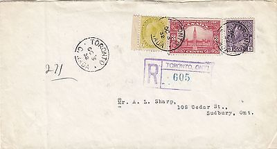 Canada 1932 Registered Cover Toronto to Sudbury ON 15c Rate