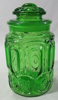 Vintage LE Smith Glass Green Moon and Stars Large Sugar Apothecary Canister Lid