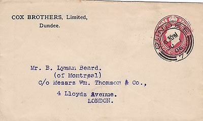 GB 1906 Edward VII 1d Postal Stationery Envelope Dundee to London