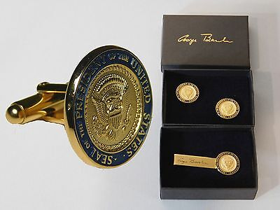 2 Presidential Seal George Bush  White House gifts Cufflinks & Tiebar Authentic