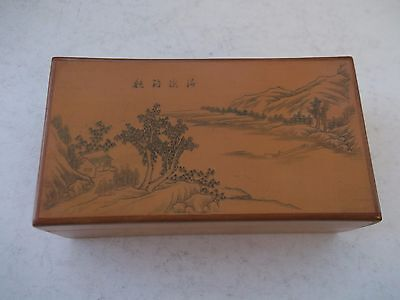 Vintage Wooden Trinket Box With  Picture & Oriental Writing On Lid.10Cm X 5.20Cm