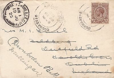 Gold Coast 1925 Cover Coomassie to Dublin then Mullingar Ireland