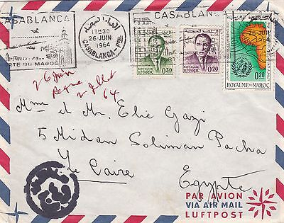 Morocco 1964 Airmail Cover Casablanca to Cairo Egypt 70d Rate Censored ?