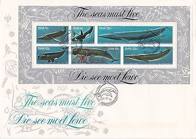 S W Africa Namibia 1980-81Whales & Bldgs SSs FDCs Hentiesbaai Bay & Luderitz