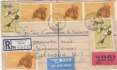 Uganda 1970 Registered Express Airmail Cover Kampala to London UK 5.40 Rate