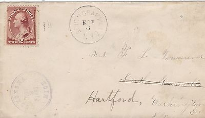 US 1886 2c Cover Tekonsha Michigan to South Granville Redirected to Hartford