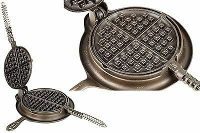 Vintage Griswold No 7 Cast Iron Low Base Waffle Iron Ex Restored Cond