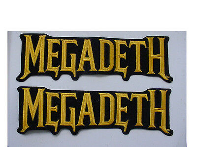 """2 large MEGADETH PATCH EMBROIDERED 90'S METAL-IRON ON PATCH-licensed 9""""-gold"""