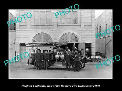 OLD LARGE HISTORIC PHOTO OF HANFORD CALIFORNIA, THE FIRE DEPARTMENT TEAM c1910
