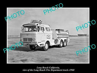 OLD HISTORIC PHOTO OF LONG BEACH FIRE DEPARTMENT TRUCK, CALIFORNIA, c1960
