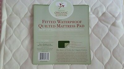 TL Care Natural Organic Cotton Quilted Fitted Crib/Toddler Mattress Pad ~EUC~