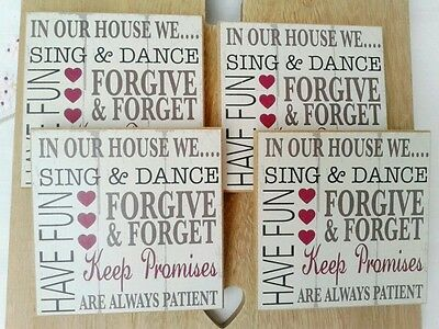 Set of 4 Shabby Chic Coasters Wood Distressed with quotes