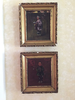 Pair of Antique Asian Oil on Canvas Paintings in Gilt Frames  ~ circa 1830