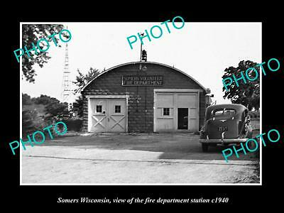 OLD LARGE HISTORIC PHOTO OF SOMERS WISCONSIN, THE FIRE DEPARTMENT STATION c1940