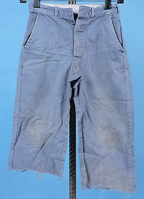 Vintage Child'S Denim Blue Striped Cotton Twill Pants