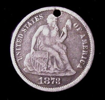 Better 1873 Seated Liberty Dime LOVE TOKEN Initials