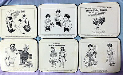 ♡ FREE POST 6 DRINK COASTERS LADIES FASHIONS 1908 -1950s NEW OLD STOCK