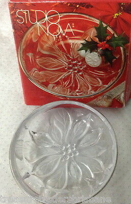 Boxed Frosted & Engraved Poinsettia Glass Bon Bon Dish With Silver Edge