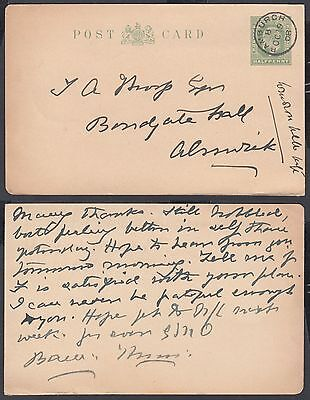 1908 KEVII Bamburgh CDS to Alnwick; 1/2d Stationery Postcard; Northumberland
