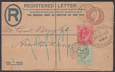 1906 KEVII uprated Registered Envelope to Amsterdam; Netherlands / Holland