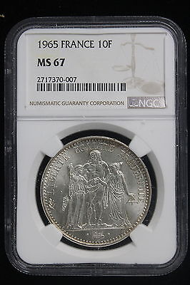1965 France. 10 Francs. NGC Graded MS-67. Hard to find in this grade.
