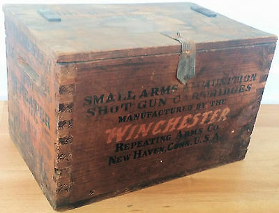 Winchester Shotgun Shell Box Crate Wood & Leather Vintage 12 ga.
