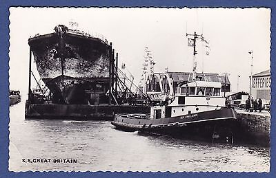 S.s. Great Britain Arrives In Avonmouth : Vintage Real Photo Postcard