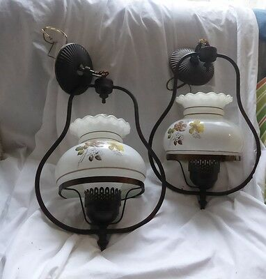 A Pair of Vintage Hurricane Pendant Ceiling Lights/ Lamps