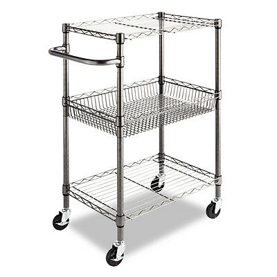 Alera® Three-Tier Wire Rolling Cart, 28w x 16d x 39h, Black Anthracite