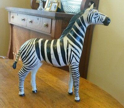 Large Folk Art Hand Painted Zebra Figurine Leather 12 3/4""