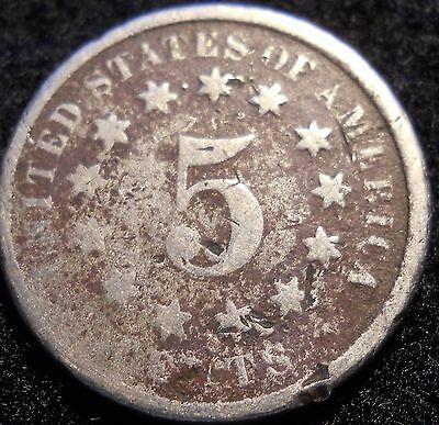 1875 Shield Nickel 5 Cent ~ AG Details ~ U.S. Coin Lot ! 5c Five Cent