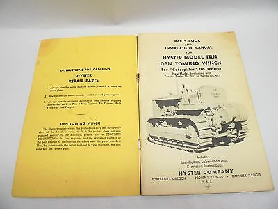 Vtg HYSTER Model TRN For CATERPILLAR D6N Towing Winch Parts Instruct Manual Book