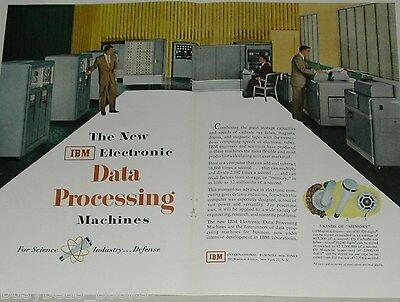 1953 IBM 2-page advertisement, early computer, card reader, etc huge machines