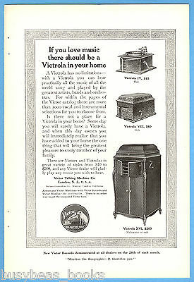 1914 VICTROLA advertisement, Victor Talking Machine Co., Victrola IV, VIII & XVI