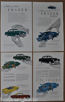 1951 FRAZER advertisements x4, Kaiser-Frazer Sedan, Vagabond, color photos