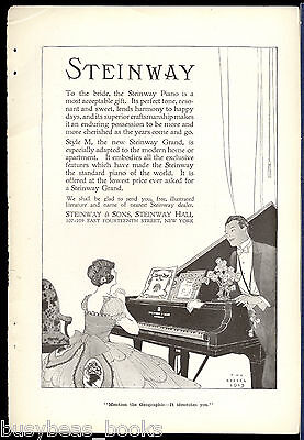1915 STEINWAY PIANO advertisement, grand piano bridal gift, The Reeses art